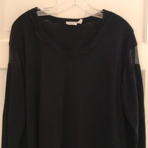 Wilt Black Long Sleeve Tee With Mesh Inset Sz L